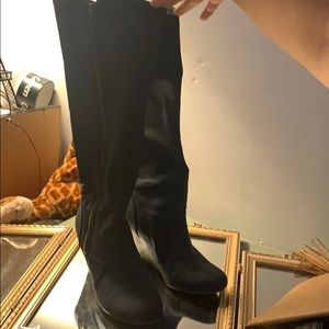Suede Fergie Blue Wedged Boots